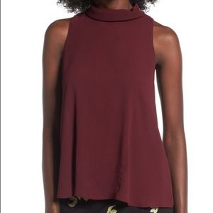 NWT ASTR | Tie Back Mock Neck Wine Colored Tank